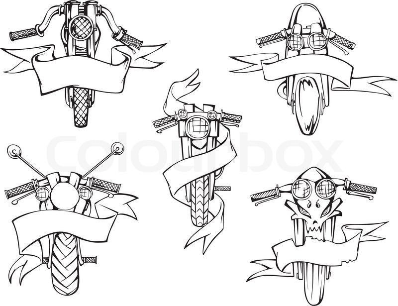 motorcycle templates with ribbons stock vector colourbox