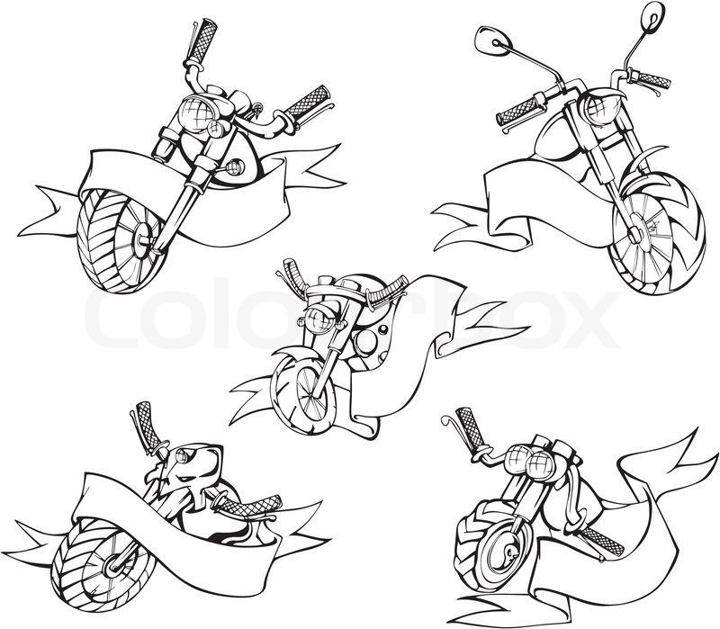 Motorrad- Vorlagen mit Bändern | Vektorgrafik | Colourbox