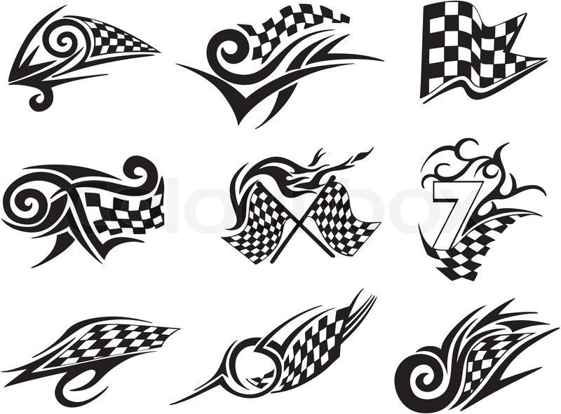 set racing tattoos mit karierten fahnen vektorgrafik colourbox. Black Bedroom Furniture Sets. Home Design Ideas