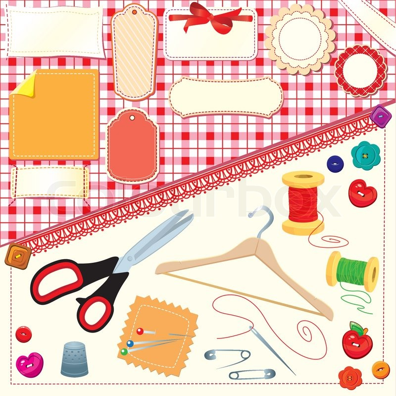 Vintage Knitting Clipart : Collection of labels sewing and knitting tools stock