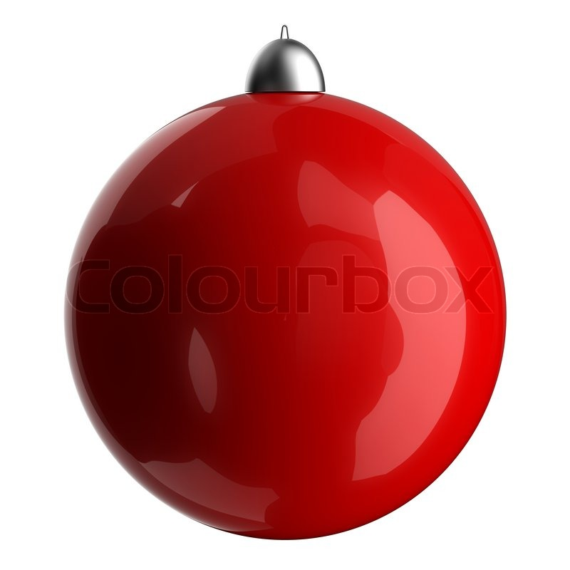 3D red christmas ball classic. Happy new year ball. Isolated on ...