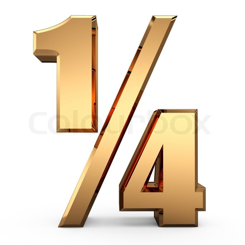 3d Gold One Fourth Of Symbol 14 Sign Quarter Sign Stock