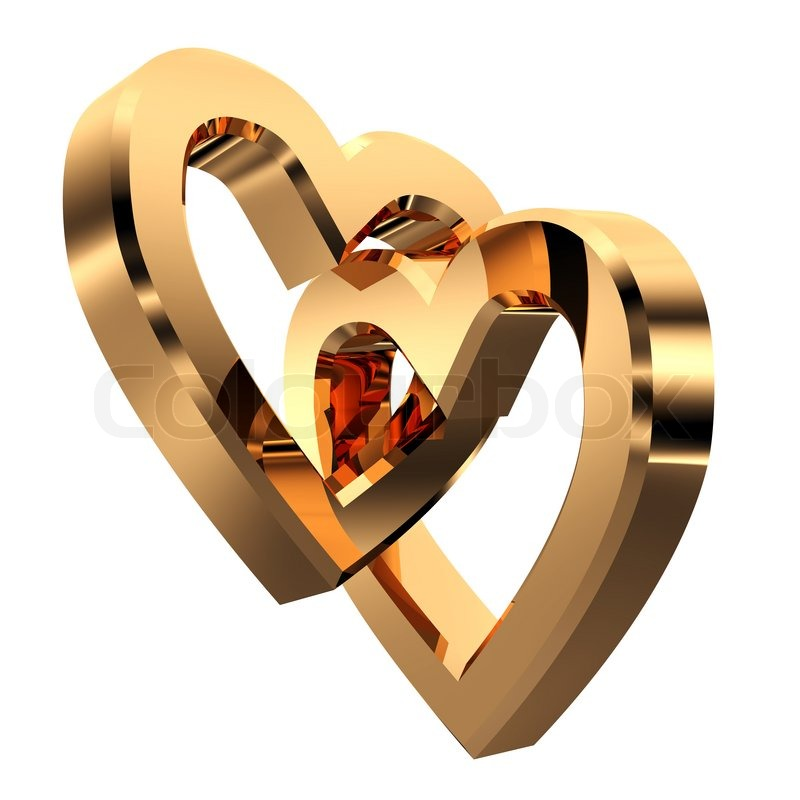 3d Heart Shaped Gold Rings On White Background Stock