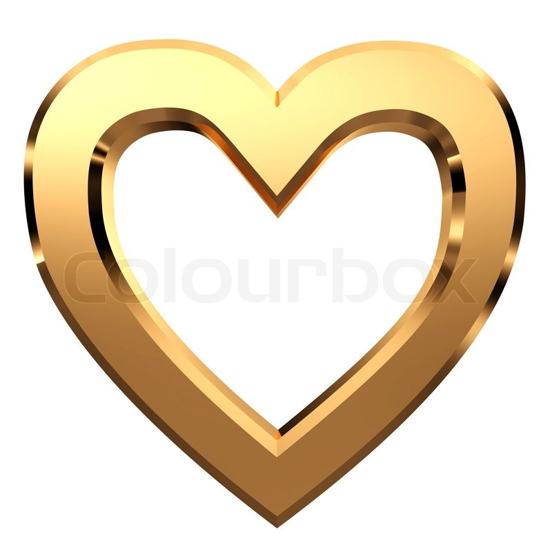 3D golden heart-shaped frame isolated on white background... | Stock ...