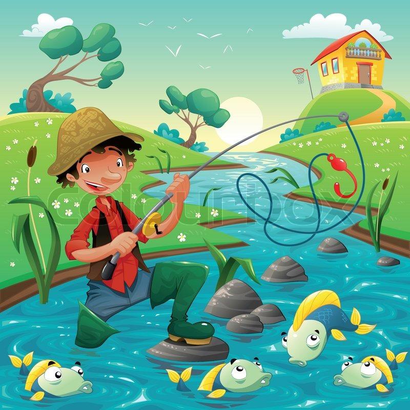 Cartoon scene with fisherman and fish. | Stock Vector | Colourbox