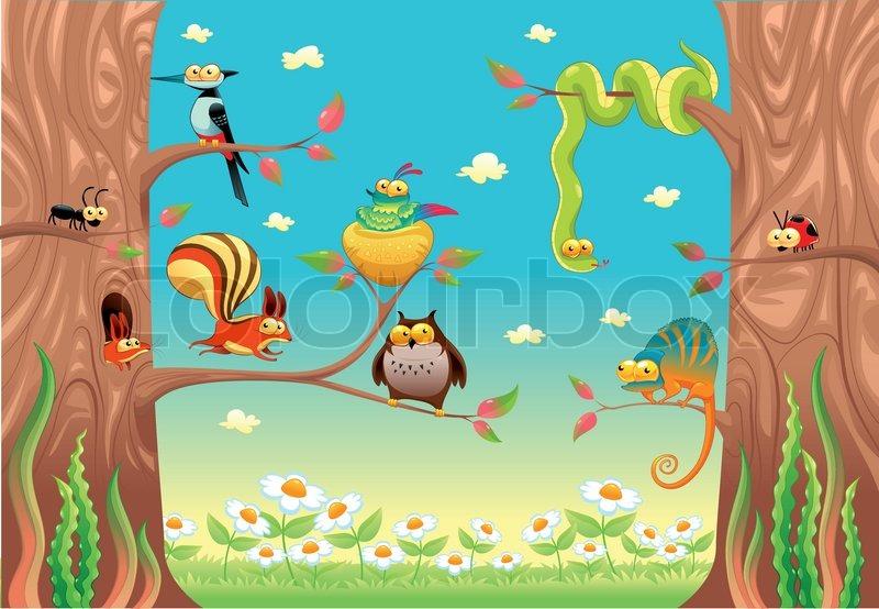 Cartoon Woodland Scene Cartoon And Vector Scene