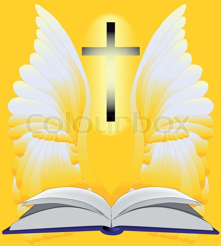 A Set Of Angel Wings With The Christian Cross And Bible