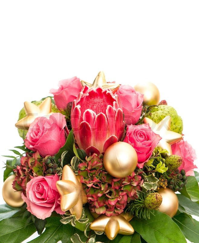 Bouquet of exotic flower protea and pink roses | Stock Photo | Colourbox
