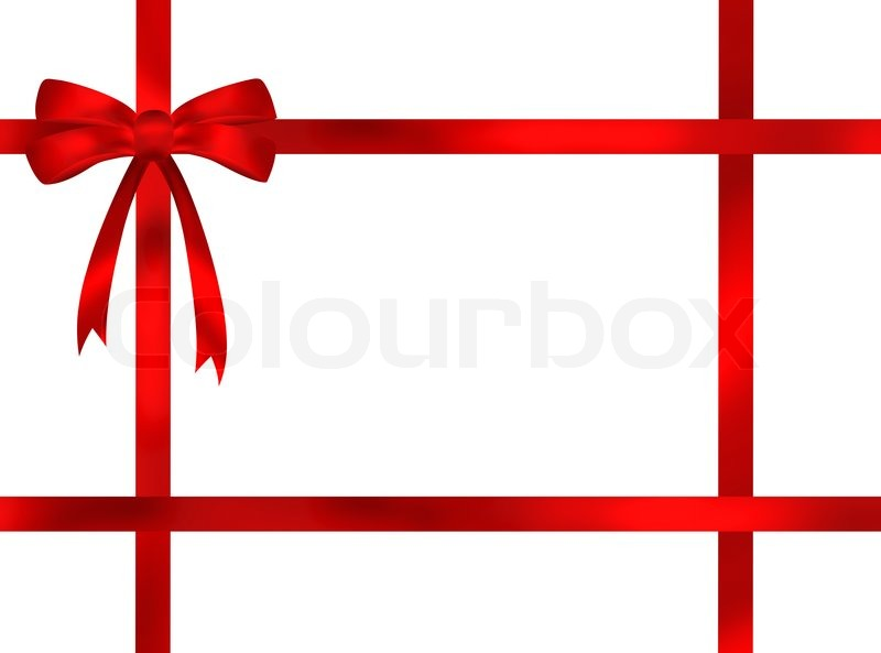 Red ribbon bow frame illustration on white background | Stock Photo ...