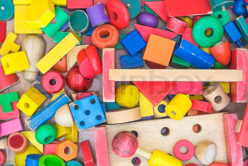 Colorful geometric wood toy, stock photo