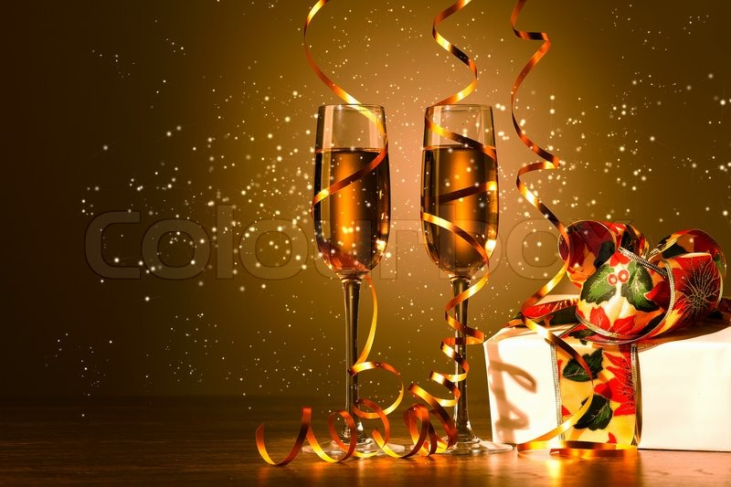 Glasses of champagne at new year party stock photo for Terrace new year party