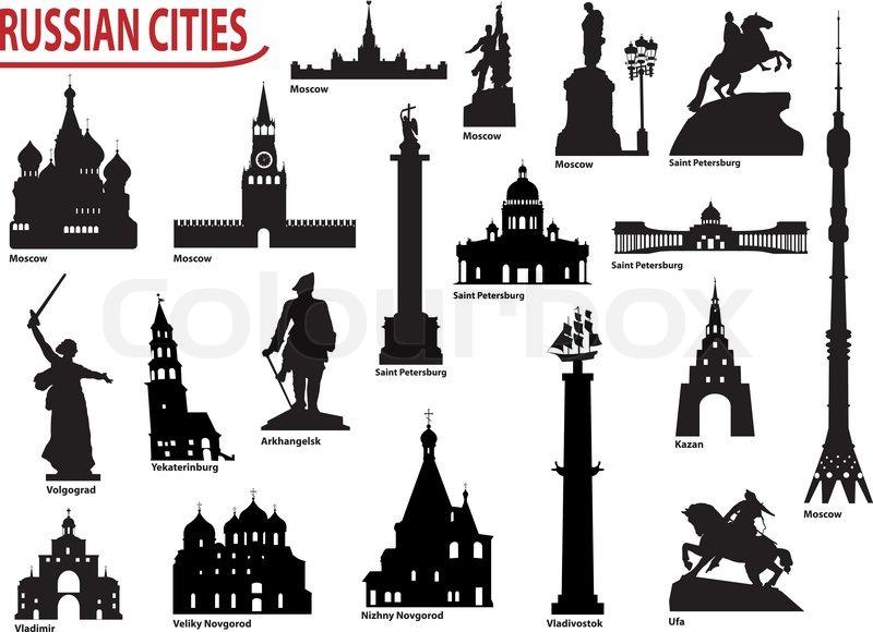 symbols of russian cities stock vector colourbox