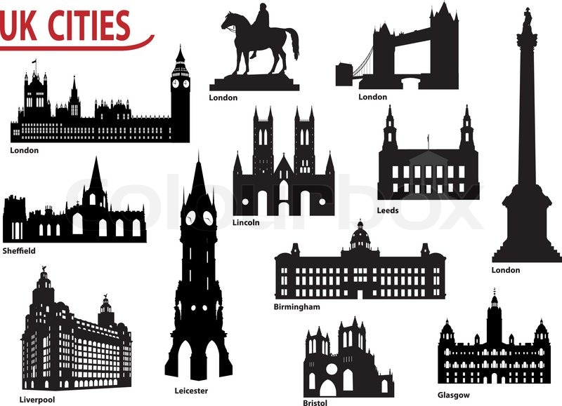 Silhouettes Of Cities In The Uk Stock Vector Colourbox
