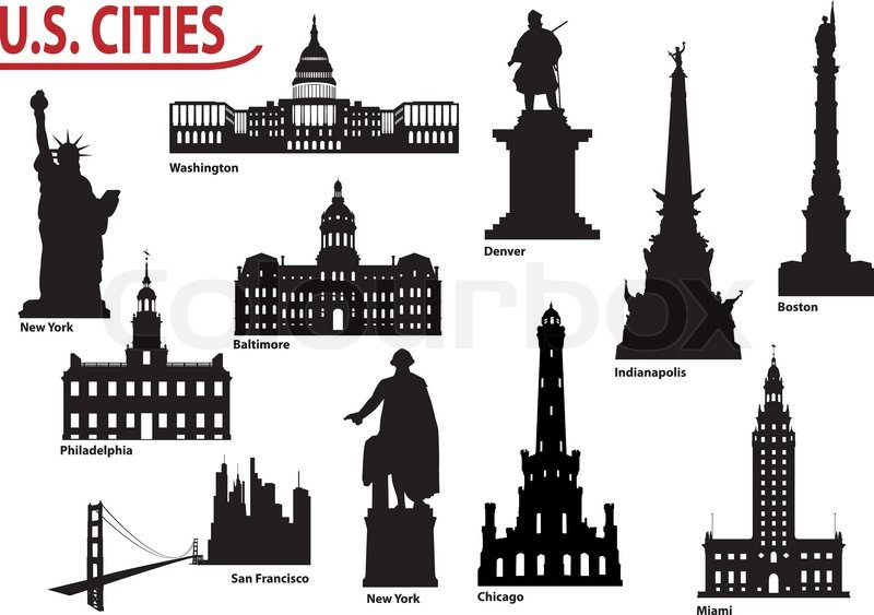 Silhouettes Of Us Cities Stock Vector Colourbox