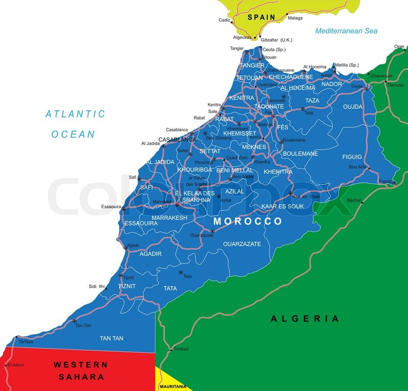 Highly detailed vector map of Morocco with administrative regions ...