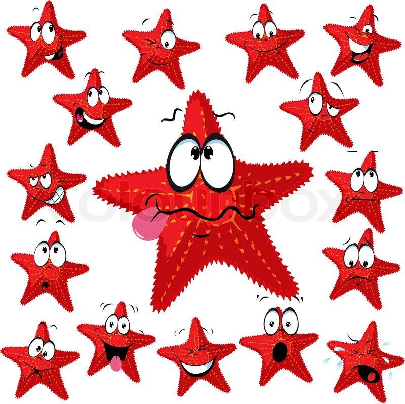 Red sea star cartoon mit vielen vektorgrafik colourbox - Aquarium hintergrund ausdrucken ...