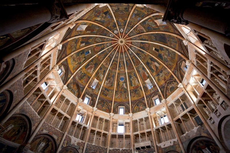 Painted Dome Ceiling Of The Baptistery Of Parma Stock