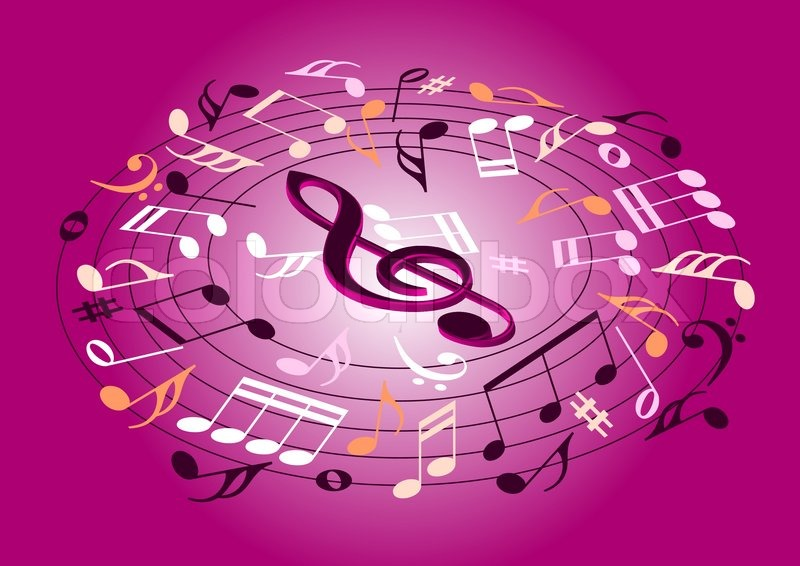 Pink Music Wallpaper: Musical Notes Flying On A Pink ...