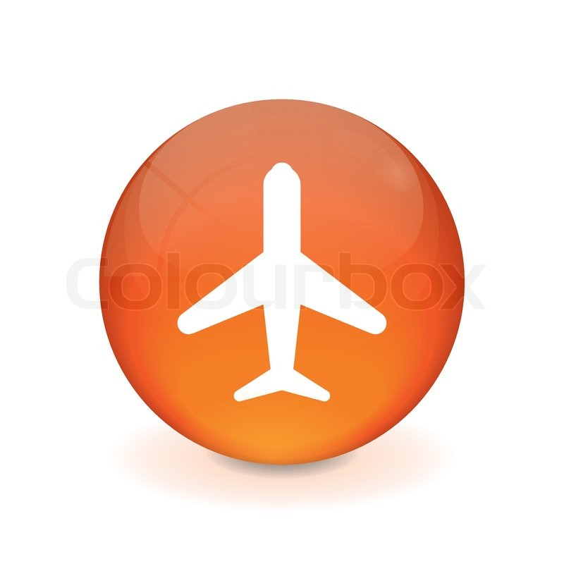 Runder orange knopf - Flugzeug icon  Vektorgrafik  Colourbox