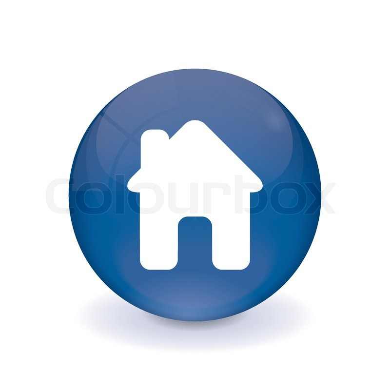 runder blauer knopf haus icon vektorgrafik colourbox. Black Bedroom Furniture Sets. Home Design Ideas
