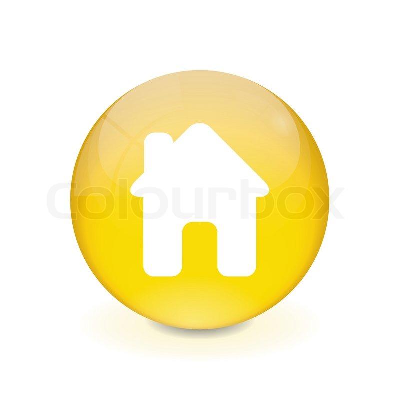 Round Yellow Button House Icon Stock Vector Colourbox
