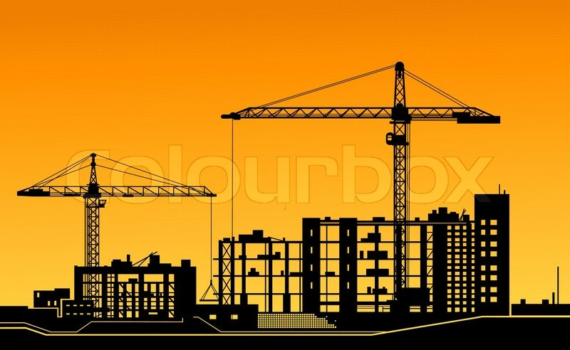 Building Construction Graphics : Working cranes on construction site stock vector colourbox
