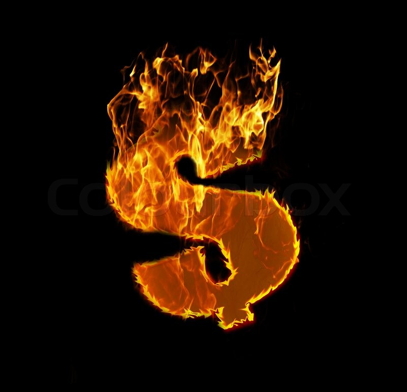 Money Sign on Fire Fire Dollar Sign Isolated on