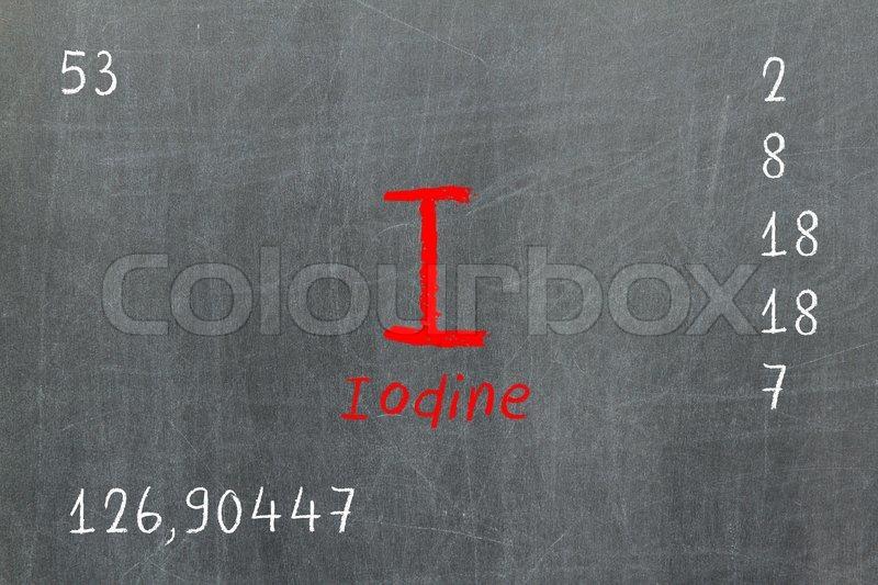 Isolated Blackboard With Periodic Table Iodine Stock Photo
