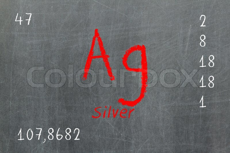 Isolated Blackboard With Periodic Table Silver Stock Photo