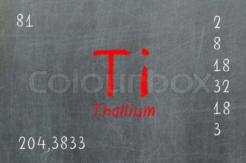 Isolated Blackboard With Periodic Table Thallium Stock Photo