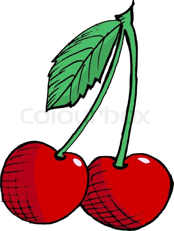 Hand Drawn Vector Cartoon Illustration Of Cherry