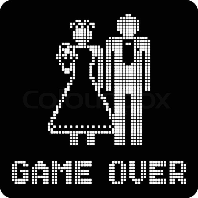 Game Over Pixel Invert Stock Vector Colourbox