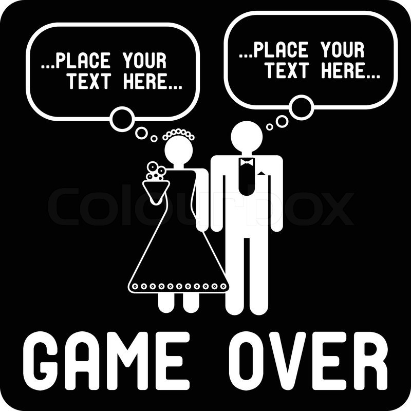 Funny Wedding Symbol With Speech Bubbles Game Over Stock Vector
