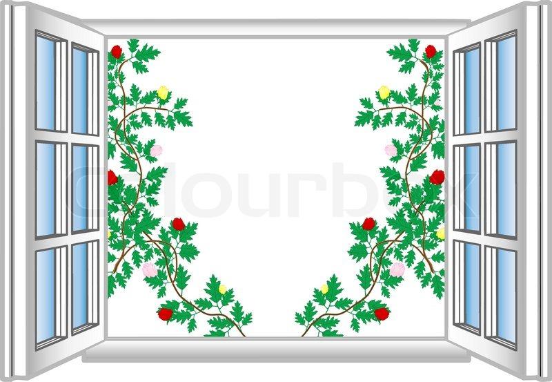 Offenes fenster im winter  Vektor-Illustration ein offenes Fenster mit Blumenmuster ...