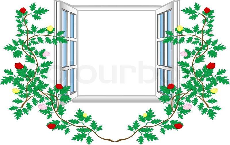 Offenes fenster gezeichnet  Vektor-Illustration ein offenes Fenster mit Blumenmuster ...