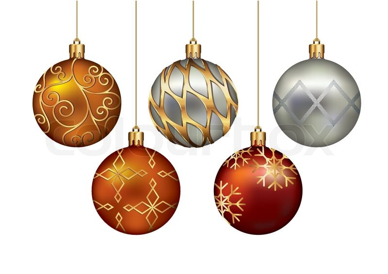 christmas ornaments hanging on gold thread vector illustration stock vector colourbox