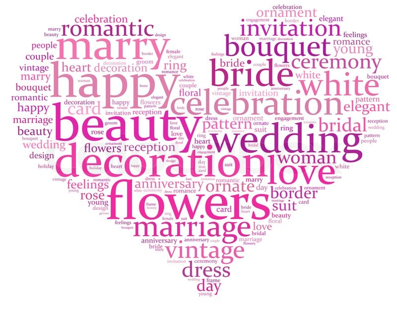 Wedding Info Text Graphics Composed In Heart Shape Concept