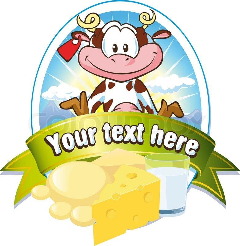 Milk Cow Vector Milk Label With Cow Vector