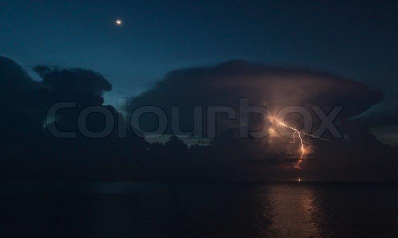 Lightning above the sea, stock photo