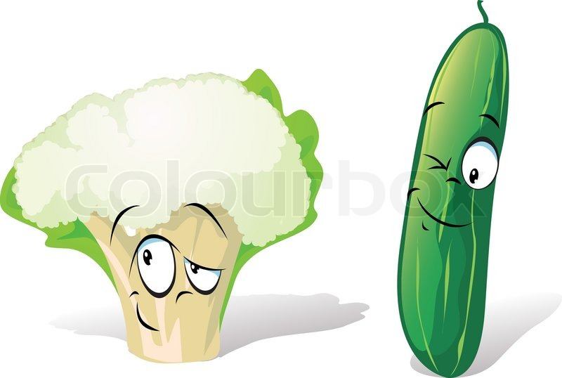 Cauliflower and cucumber cartoon | Stock Vector | Colourbox