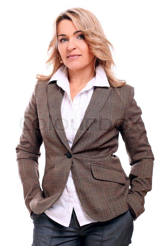 Portrait der 40 Jahre alte Frau in Büro    Stock Bild