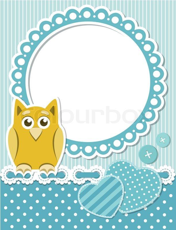Baby owl blue scrapbook frame | Stock Vector | Colourbox