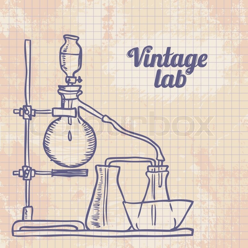 Old Chemistry Laboratory Vector Background Stock Vector