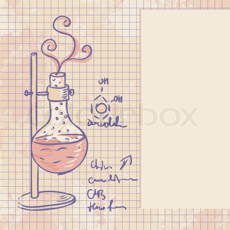 Line Drawing Chemistry : Old chemistry laboratory vector background stock