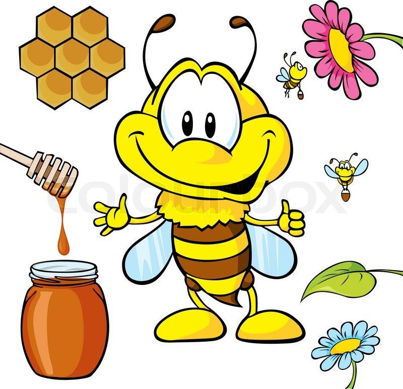 Stock vektor von lustige bienen karikatur