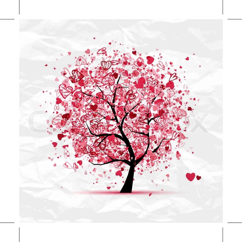Valentine tr med hjerter til dit design stock vektor - 123rf image gratuite ...