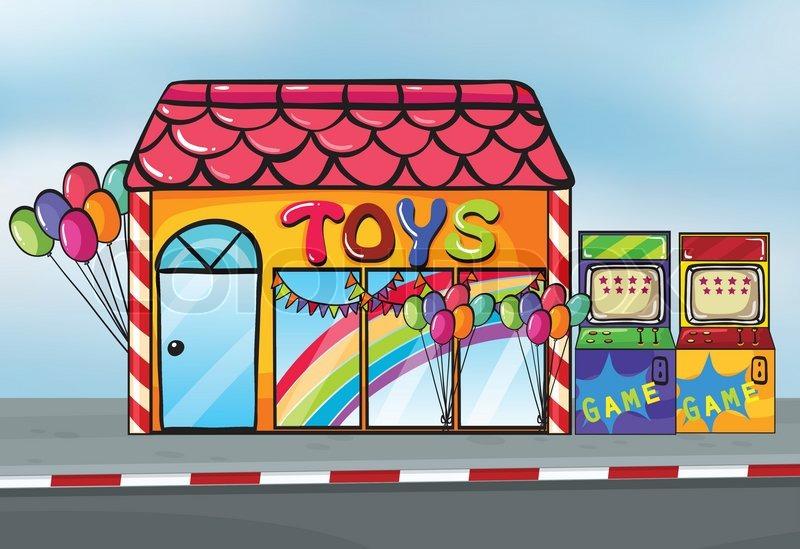 Векторные картинки для детей в магазине игрушек, открытка тебя люблю