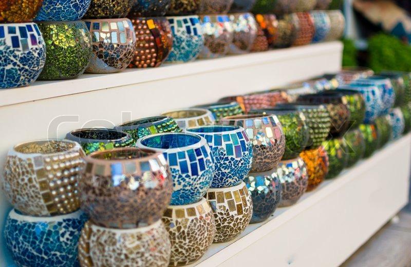 colorful turkish decoration souvenirs stock photo
