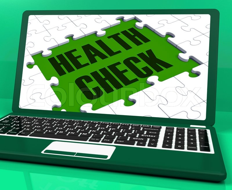 Health Check On Laptop Showing Medical Exams, stock photo