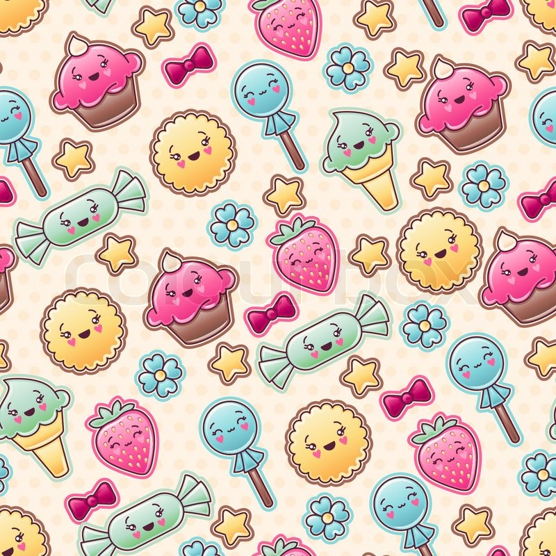 Seamless Kawaii Child Pattern With Cute Doodles Stock